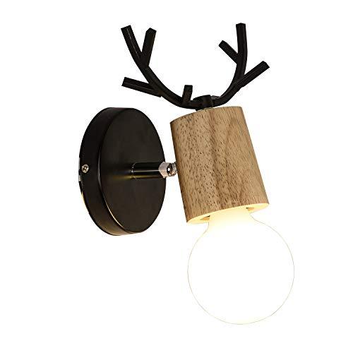 鉄製の壁灯 北欧 レトロE27 LED木材壁ライト Edison ロフトアントラーブラケットライト リビングルーム/ベッドルーム/ベッドサイド/キッチン/バー/カフェ/研究/洋服店にも適用 目に優しい (A)