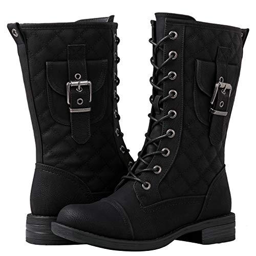GLOBALWIN Women's Black Lace Up Mid-Calf Miliraty Style Fashion Boots 7M