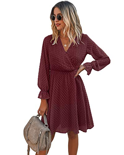 SOLERSUN Long Sleeve Fall Dresses for Women,Casual Elegant V Neck Long Sleeve High Waist Flowy Swing A Line Cocktail Party Mini Dress Wine-Long Sleeve L