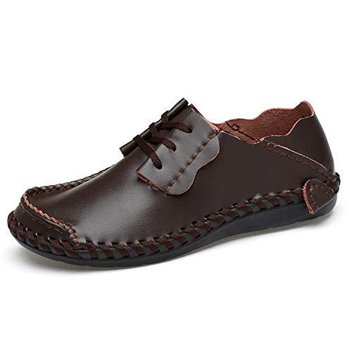 HILOTU Driving Loafer Für Herren, Boot Mokassins Schnürung Style OX Leder Cool Summer Soft Lightweight (hohl Ist Optional) (Color : Dunkelbraun, Größe : 45 EU)