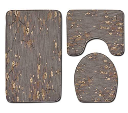 Badmat Kleed 3 Delige Set Retro Bloemen Print Toiletbril Cover Badmat Deksel Cover Badmat Family Home Decor