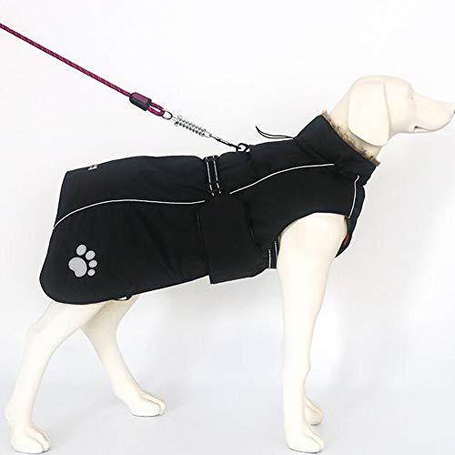 XPC-Pet Clothes mantel voor koude honden met bontkraag voor middelgrote honden buiten, warme winterjas, reflecterend vest voor honden, waterdicht en windbestendig