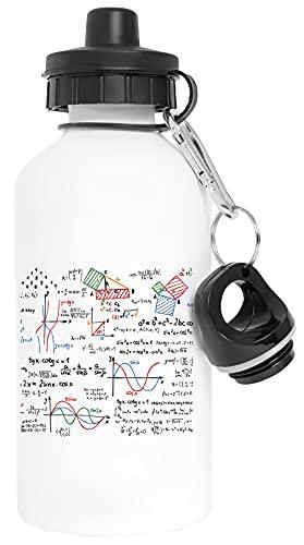 Matemáticas Fórmulas Números Aluminio Blanco Botella de Agua Con Tapón de Rosca Aluminium White Water Bottle With Screw Cap