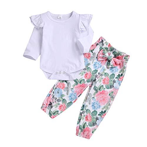 Kingko 2 pcs Enfant en Bas Âge Bébé Fille Vêtements Ensemble Top Blanc + Pantalon Floral Tenues 3 6 9 12 24 Mois Bodys et Combinaisons Bébé Fille (70(3-6mois))