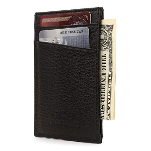 Otto Angelino Dunne Echt Lederen Kaarthouder Portemonnee voor Mannen - RFID BLOCKING - Verschillende Slots voor Credit, Debet-, Bank en Visitekaartjes, Geld en Rijbewijs
