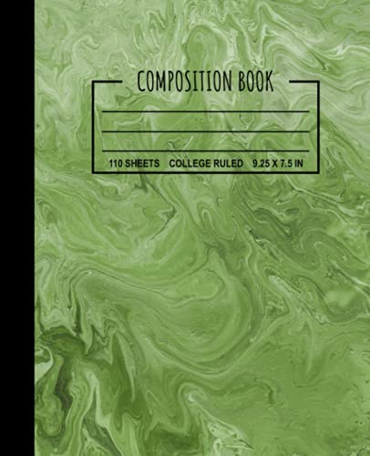 Composition Book: Liquid Marble Green Composition Notebook, Flowing Paint...