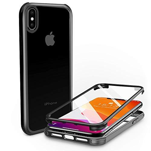 PHONEAURA Carcasa de cristal de 360 grados para iPhone XS Max (protección completa, protección completa, doble caso), color negro