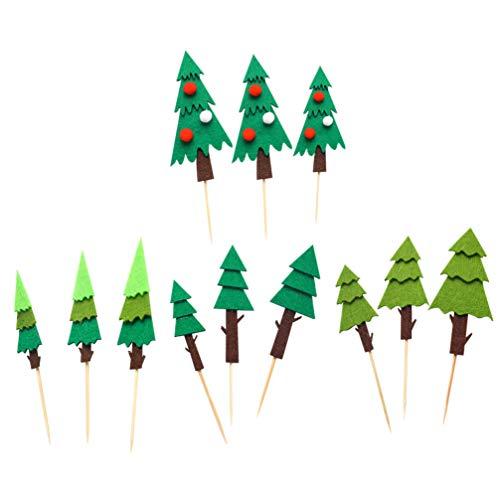 ABOOFAN 12pcs Christmas Tree Cupcake Topper Felt Christmas Tree Pine Tree Cupcake Picks for Christmas Cake Decorations Party Supplies