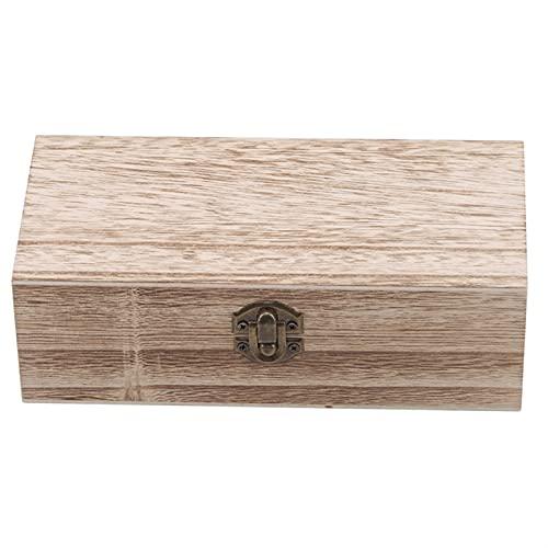 Alysays Caja de Almacenamiento en casa de Madera Natural con Tapa de Oro Cerradura Postal Organizador artesanía Hecho a Mano Caja de joyería Caja de Madera (Color : Style2)
