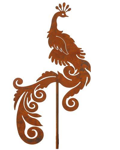Bornhöft Gartenstecker Pfau Blumen Beetstecker Topfstecker Metall Rost Gartendeko Edelrost rostige Dekoration 150cm