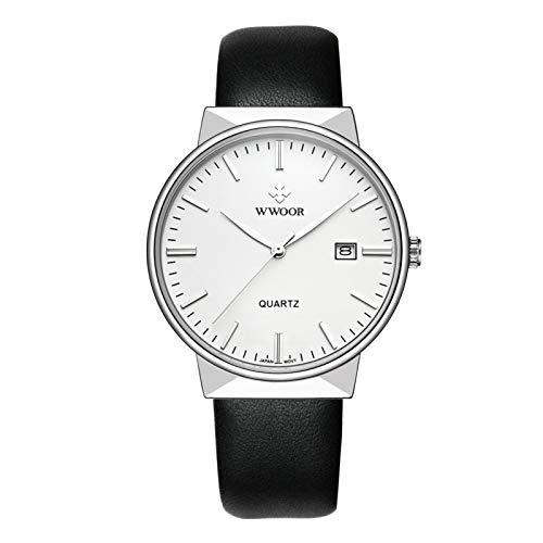 Reloj de pulsera de cuarzo con calendario de correa de cuero PU para hombre de 3 colores...