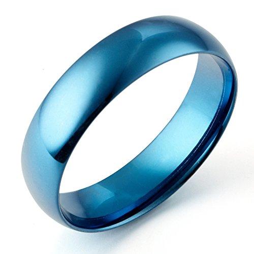 Gemini de cúpula de para hombre Azul Promise titanio anillo de boda...