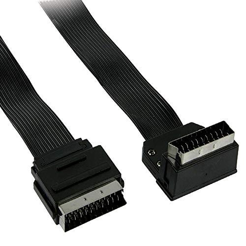 TronicXL Scartkabel AV Kabel Flachband Flach SCART-Kabel Scart-Stecker Winkelstecker gewinkelt - 2m 2 Meter