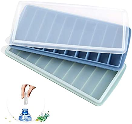 Silicone Narrow Ice Stick Cube Trays with Lids, Easy Push and Pop Out Material, Ideal for Sports and Water Bottles,Green and Blue