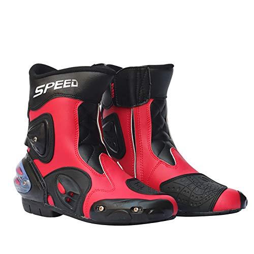 Acptxvh Motociclismo Botas de Cuero Zapatos Impermeables Riding Microfibra Moto de Motocross Off-Road de protección Engranajes Moto Botas,Rojo