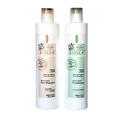 Dr ROSS' BIOGEM Anti Hair Loss Hair Care Set: Shampoo & Conditioner For Oily Hair - 2 x 355ml / SAFE & EFFECTIVE ! 100% Stopped Balding & 97% Noticed Increasing Hair Volume in Clinical Trials(12 weeks, 29 subjects) by an FDA-registered Lab in USA. No Minoxidil(drug), No Paraben. pH balanced revitalizing active organic formula. Made with organic plants extract.