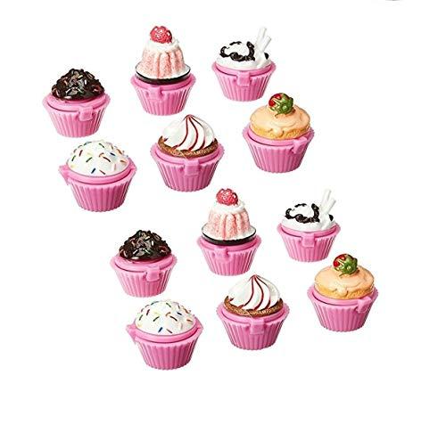 Ifavor123 Cupcake Lip Gloss Lip Balm Set Assorted Designs Birthday Party Favors (12)