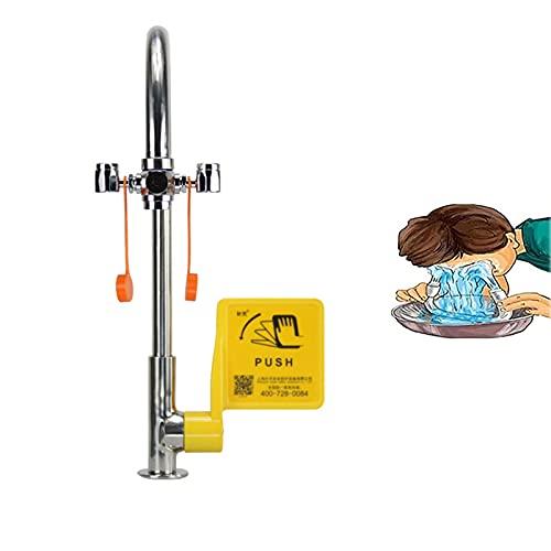 JL Lavaojos de Emergencia, Lavaojos, Conjunto de Lavabo, Ducha para Uso Industrial y de Laboratorio (con Válvula de Control)