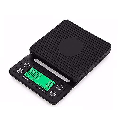 Coolshopy Fácil de limpiar Coffee Digital Escala con temporizador, alta precisión de la báscula de alimentos para la cocina con función de tara, 6.6lb / 3kg MAX CARGA, 0,1 g de sensor de precisión Fun