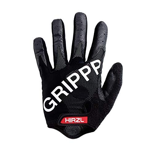 HIRZL Grippp Tour FF 1.0 Leather Bike Gloves, Black, Full Finger, Breathable, Gel Padded, Anti-Slip, Sweat and Water Resistant, Ergonomic, Durable, MTB, Road, Mountain, Cycling, Swiss Design, Medium