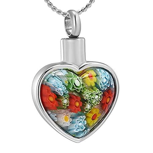 KBFDWEC Collar de urna de Cristal Corazón Memorial Recuerdo Colgante Soporte de Ceniza Joyería de cremación para Cenizas Piedra Colorida