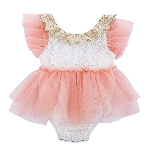 L&ieserram Vestido para niña de bebé, con tutú de tul, manga corta, con encaje de encaje, primavera, verano, otoño Rosa 6-12 Meses
