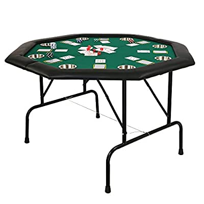 Koreyosh Poker Table Folding Casino Poker Table 48'' Texas Hold'em Poker Table Game Table with Stainless Steel Cup Holder
