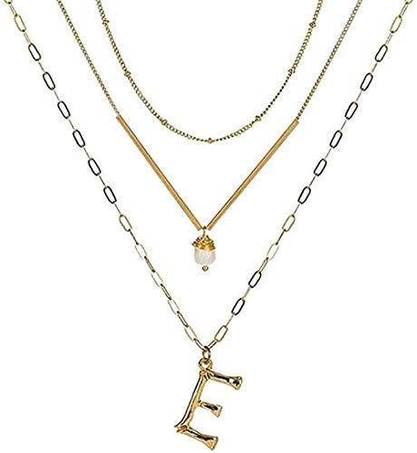 Yiffshunl Collar con Colgante de Alfabeto de Letras de Metal Dorado, Collar con Dije de Cadena de eslabones Dorados, Gargantilla en Capas de Barra de Metal para Regalo de niñas