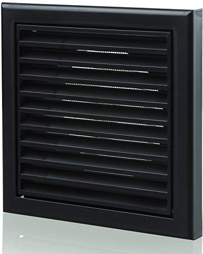 Louvred Wall Vent Grille 100mm - 4 Inch Black with Flyscreen for Internal Or External Use