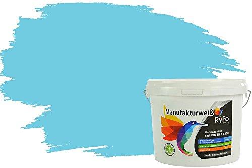 RyFo Colors Bunte Wandfarbe Manufakturweiß Himmelblau 3l - weitere Blau Farbtöne und Größen erhältlich, Deckkraft Klasse 1, Nassabrieb Klasse 1