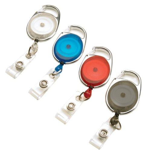 Swingline GBC Retractable Badge Holder, ID Holder, Carabiner Badge Reel, BadgeMates, Assorted Colors, 4 Pack (3747498)