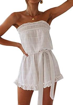 R.Vivimos Women's Summer Linen Ruffles Boho Casual Tube Playsuits Short Jumpsuit Rompers (Large, White Style #2)