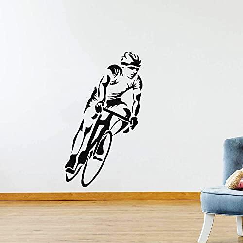 Mural de pared de bicicleta pegatina de vinilo ciclista calcomanía de competición de montar en bicicleta Mural calcomanía fresca pegatina de pared arte A5 24x42cm