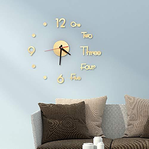 Interlink_UK Acryl Modern Design Wanduhren Wandtattoo, Wanduhr Mit 3D Wanduhren Visuelle Aufkleber für Dekoration Geschenk Nach Hause, Restaurant, Büro und Hotel (50 x 45 cm, Golden)