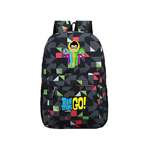 Teen Titans Go Mochila de Gran Capacidad de Estilo Occidental de Moda del diseño de Escolar Mochila for niños y niñas Niños (Color : A07, Size : 30 X 13 X 43cm)