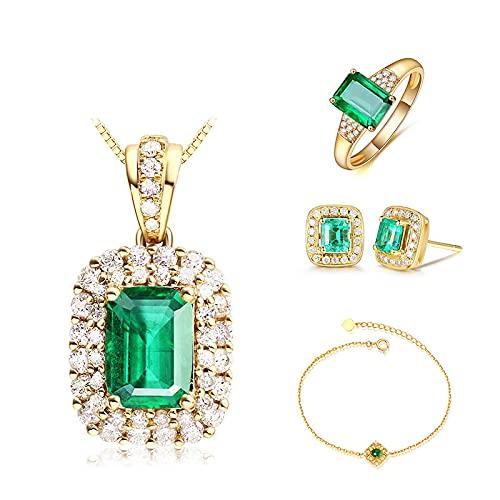 yuge Conjunto de joyas de plata para mujer con anillo y piedras preciosas esmeraldas, joyería de compromiso, collar y pulsera