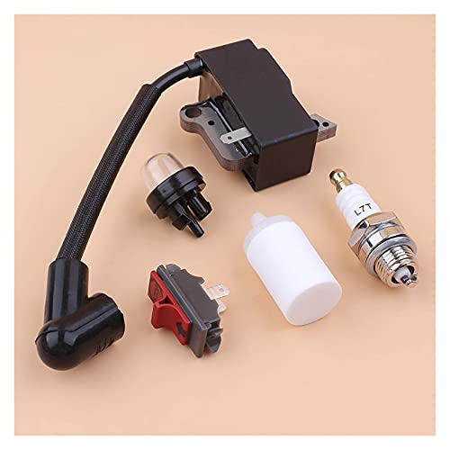 Bobina de encendido Interruptor de encendido/apagado Kit de bombilla de imprimación de bujía compatible con H-usqvarna 235R 232R 232L 240RJ Accesorios de desbrozadora y cortadora de cepillo 53703850