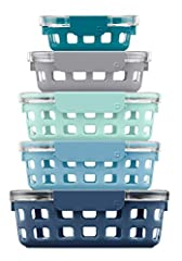 10 piece set includes 1 cup, 1.75 cup and (3) 3.4 Cup glass containers with lids Perfect for meal prep Silicone sleeve protects glass Crystal clear Eastman Tritan lid lets you see inside All parts are dishwasher safe, container is microwave, oven saf...