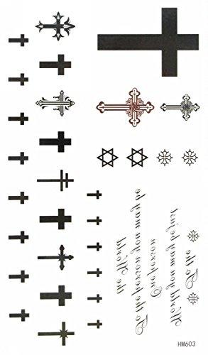 MapofBeauty Cross Temporary Tattoo Waterproof Body Tattoo Sticker (2 pcs/lot)