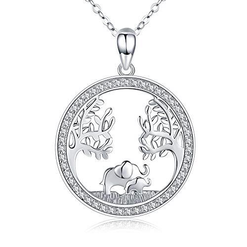 Elefanten/Eule Anhänger Halskette 925 Sterling Silber Damen Baum des Lebens Glücks Elefant/Elue Kette für Mama,Elefanten/Eule Geschenk for Mutter