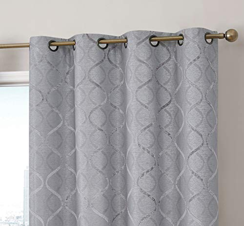 HLC.ME Versailles Lattice Flocked 100% Complete Blackout Thermal Insulated Window Curtain Grommet Panels - Energy Savings & Soundproof, For Living Room & Bedroom, Set of 2 (50 x 84 inches, Light Grey)