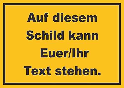 Schild mit Wunschtext waagerecht Text schwarz Hintergrund gelb A4 Rückseite selbstklebend