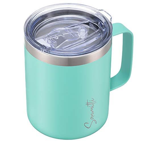 SANMITTI 12 oz Coffee Mug Vacuum Insulated Camping Mug with Lid Double Wall Vacuum Travel Mug Tumbler with Lid Travel Friendly Tumbler Cup with Sliding Lid
