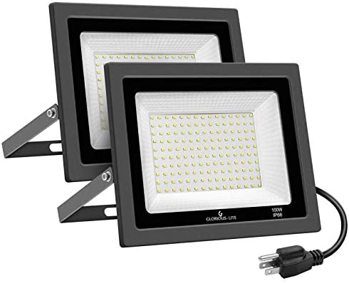 GLORIOUS LITE 2 Pack 100W LED Flood Light Outdoor 10000LM Super Bright Work Light with Plug product image