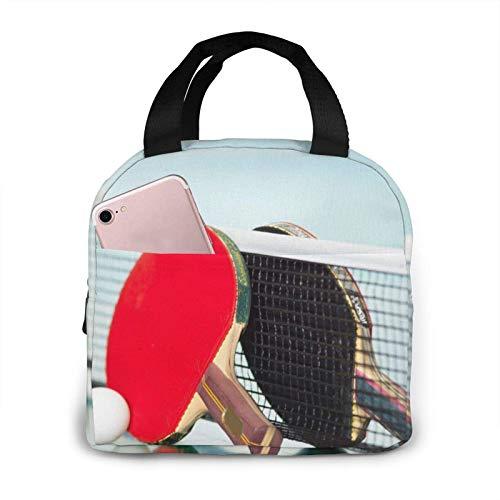 Raquetas de tenis de mesa temáticas de moda de gran capacidad, práctica bolsa de almuerzo portátil aislada.