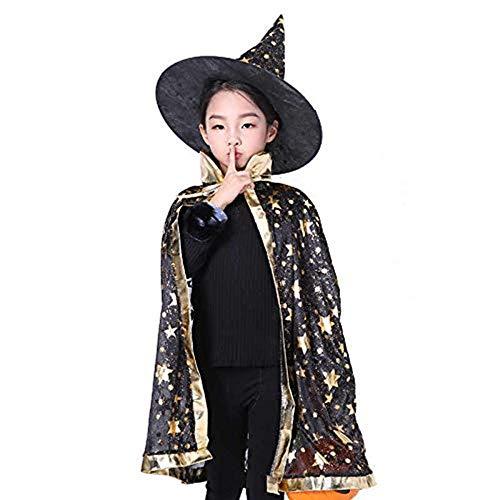 Rmeet Sombrero de Brujo de Halloween,Infantil Capa de Halloween con Sombrero de Mago para Niños Niña Disfraz de Cosplay Fiesta Estilo de Estrella