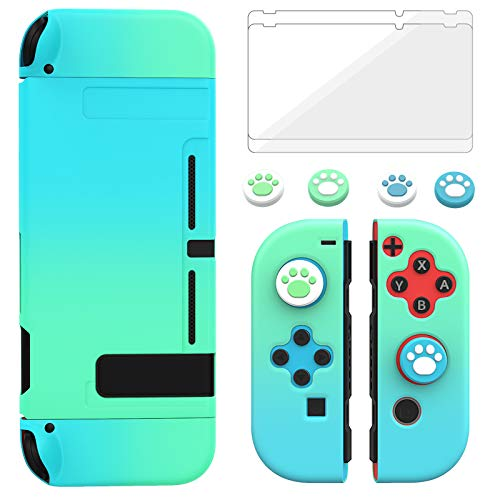 TiMOVO Dockable Case Cover for Nintendo Switch with 2 Tempered Screen Protectors & 4 Cat Claw Thumb Grip Caps, Shock-Proof Anti-Slip Protective Accessories, Blue + Green