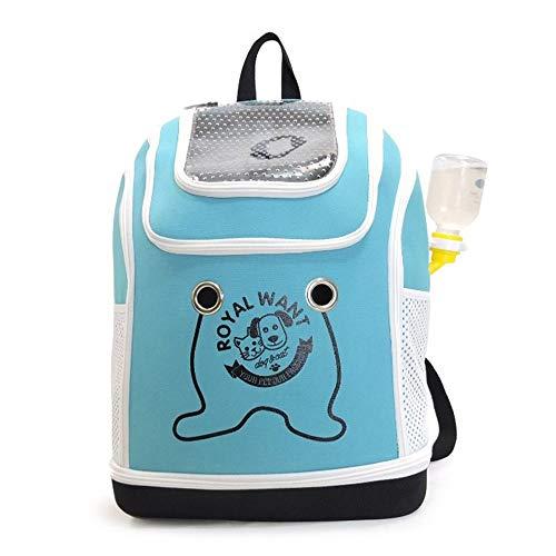 Kaper Go Pet Bag Dog Backpack Cat Bag Folding Breathable Cat Cage Teddy Handbag Pet Supplies (Color : Blue)