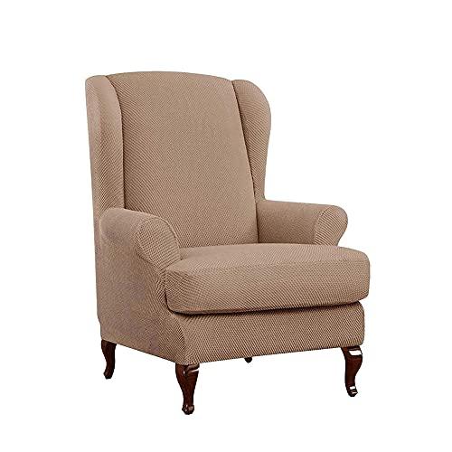 Zoyay Funda de sillón orejero elástica con Orejas Fundas sillón Relax Protector de Muebles Reclinable Fundas para Butacas Funda Sofa 1 Plaza Sala2 Piezas-Caqui