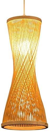 GaoF Lámparas Colgantes de bambú E27 Alambre Colgante Ajustable DIY Mimbre Ratán Araña Colgante Natural Altura Luces Colgantes para Sala de Estar Dormitorio Pasillo (Color: 25 * 50cm)